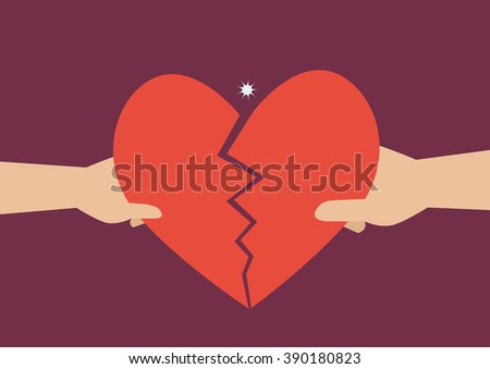 Hand of a man and woman tearing apart heart symbol. Flat style design - stock vector
