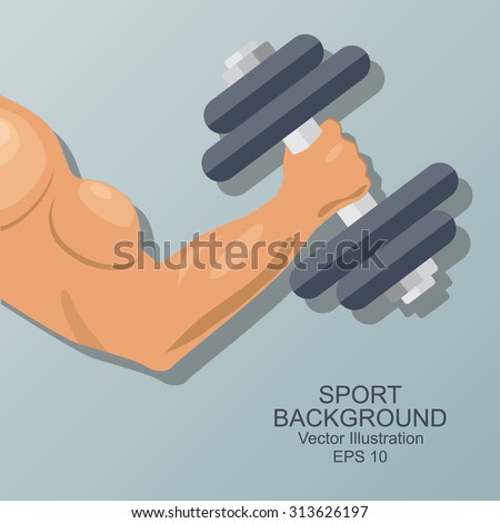 Hand of bodybuilder. Brawny arm with dumbbell isolated. Flat style. Logo. Sports emblem, icon.  Vector  illustration. - stock vector