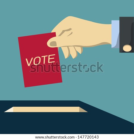 Hand of business man voting ballot with box. Vector illustration. - stock vector