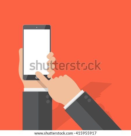 hand of businessman holding phone and touch phone ,flat design,vector eps10 - stock vector