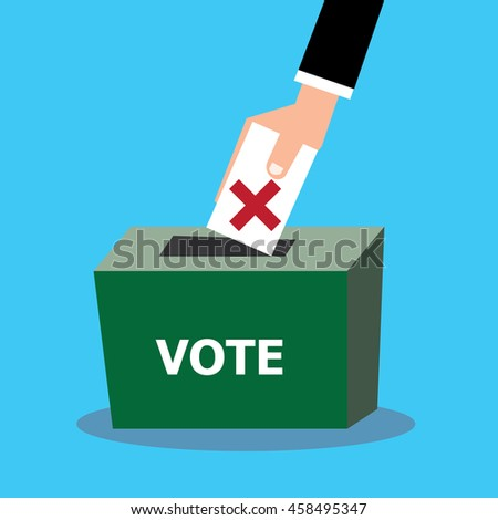 Hand of businessman insert card in the vote box-vector cartoon - stock vector