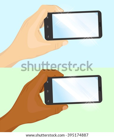 hand of Caucasian and African American man holding black horizontal smartphone - stock vector