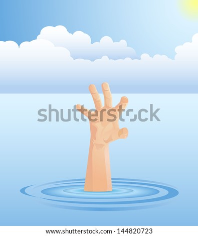 Hand of Person Drowning - stock vector