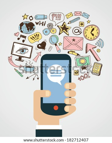 Hand of the person with the phone surrounded by icons. Concept of communication in the network - stock vector