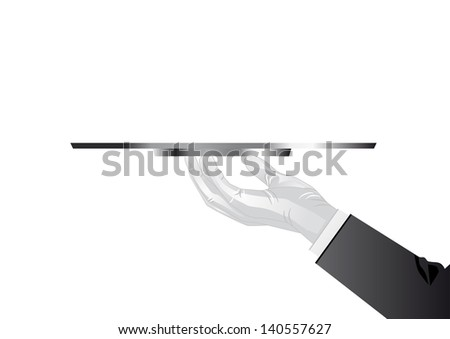 Hand of the waiter with a tray in the glove - stock vector