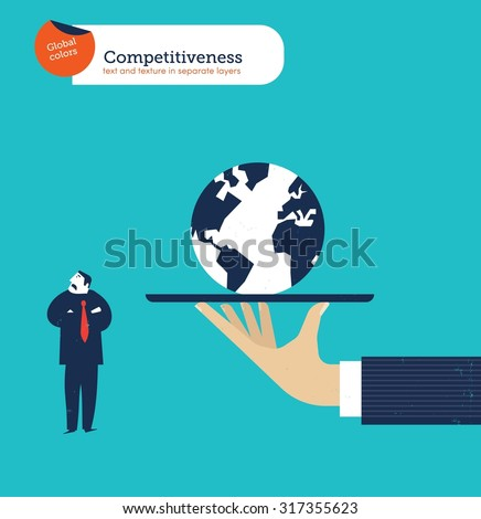 Hand offering a businessman the whole world he isn't  interested. Vector illustration Eps10 file. Global colors. Text and Texture in separate layers. - stock vector