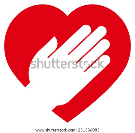 Hand on heart icon - stock vector