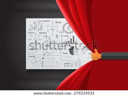 Hand opening red curtain, With creative drawing business success strategy plan ideas, Inspiration concept modern design template layout, diagram, Vector illustration - stock vector