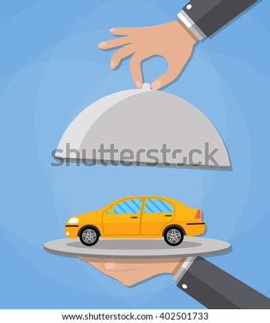 Hand opens serve cloche with yellow car inside. present concept. vector illustration in flat design on blue background. - stock vector