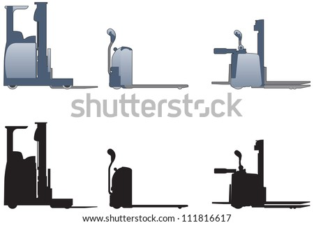 Hand operated fork lift trucks - stock vector