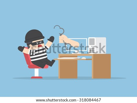 Hand out from monitor to catch hacker, VECTOR, EPS10 - stock vector