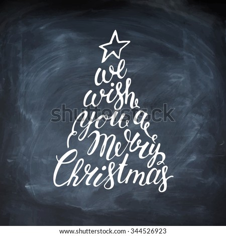 Hand painted brush lettering We wish you a Merry Christmas. Merry Christmas Lettering inside the Christmas Tree. Calligraphy header. Lettering. Vector hand drawn typography. - stock vector