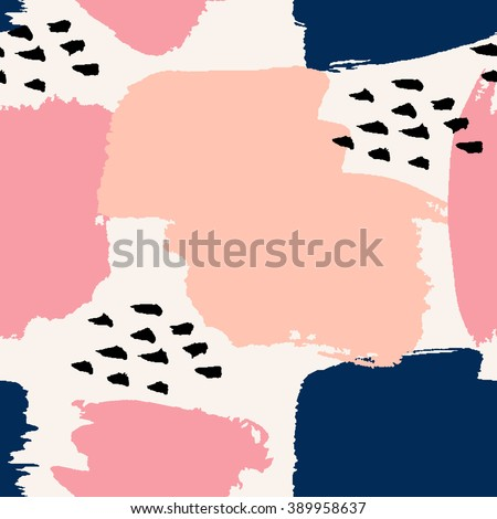 Hand painted brush strokes in navy blue, pastel pink and black on cream background. Seamless abstract repeating background. - stock vector