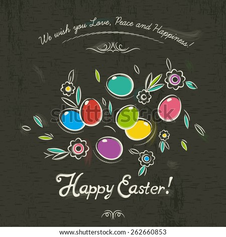 Hand painted Easter eggs and flowers on brown blackboard background. There inscription Happy Easter.Decorative element in Eastern style. - stock vector