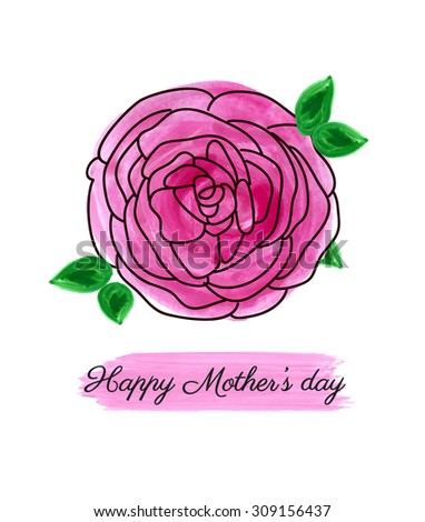 Hand painted Mother's day card - stock vector