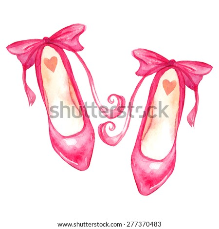 Hand-painted pink watercolor high heel shoes. Isolated vector illustration. - stock vector