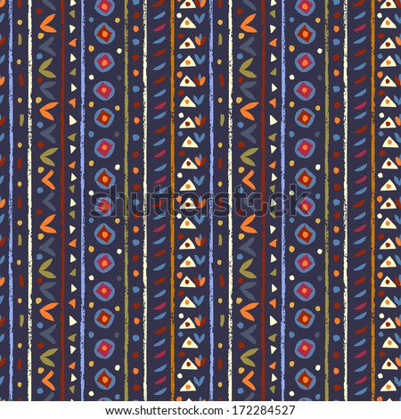 Hand painted textured ethnic  seamless pattern. Abstract tribal endless background - stock vector
