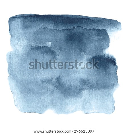 Hand painted watercolor background in dark blue and grey colors. Watercolor element for invitations, cards or menus. - stock vector