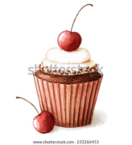 Hand painted watercolor cherry muffin. Vector illustration. - stock vector