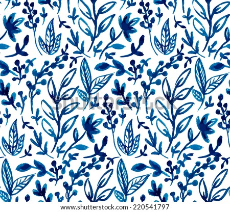 hand painted watercolor ink leaves seamless floral pattern vector background. leaf pattern, surface texture - stock vector