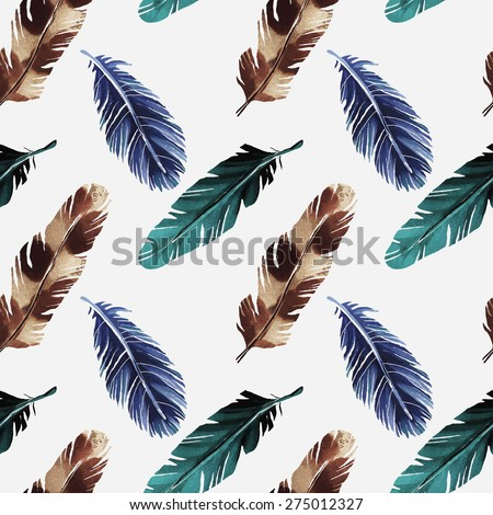 Hand painted watercolor seamless pattern with colorful feathers on white background. Tribal art ethnic texture. Cloth design, wallpaper, wrapping - stock vector