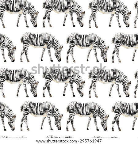 Hand painted watercolor seamless zebra background. Vector illustration. - stock vector