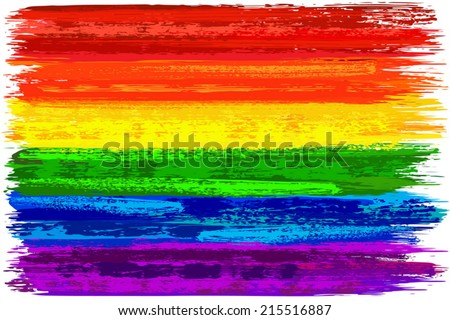 Hand painted with brush gay pride flag made in vector - stock vector