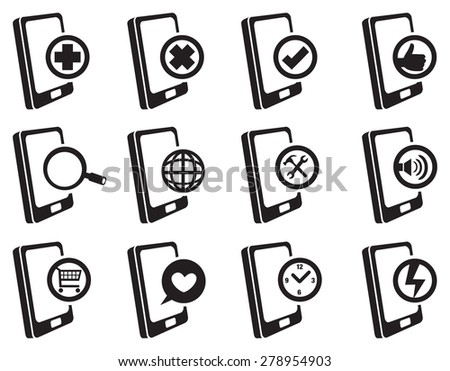 Hand phones with internet and web symbols for different software applications. Black and white vector icon set isolated on white background. - stock vector