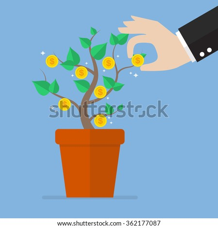 Hand pick a coin from money plant. Business concept - stock vector