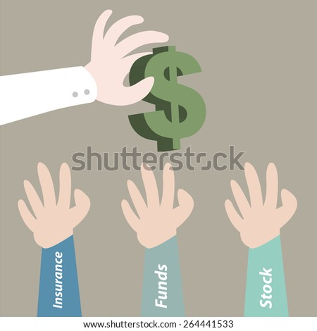 Hand pick dollar currency for investment - stock vector