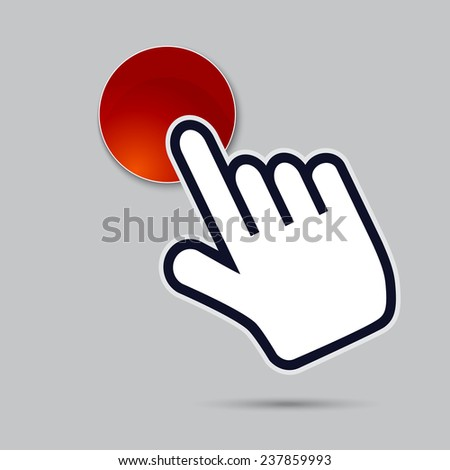 hand piinter indicates the red button - stock vector
