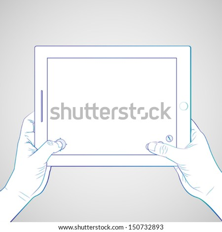 Hand play game at 10 inch tablet - stock vector