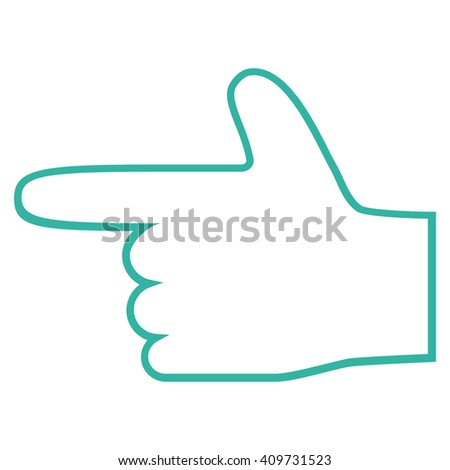 Hand Pointer Left vector icon. Style is contour icon symbol, cyan color, white background. - stock vector