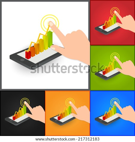 Hand Pointing  Business Graph/Chart on Smart Phone Symbol, Business Concept. Isolated on Color Background. Vector Illustration. - stock vector