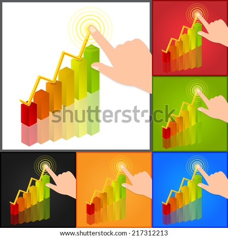 Hand Pointing Graph/Chart Symbol, Business Concept. Isolated on Color Background. Vector Illustration. - stock vector