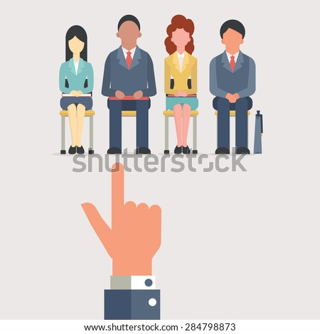 Hand pointing to business people who sitting on chair waiting for job interview, recruitment concept. Flat design.  - stock vector