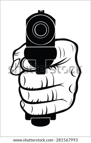 Hand pointing with the gun at you - stock vector