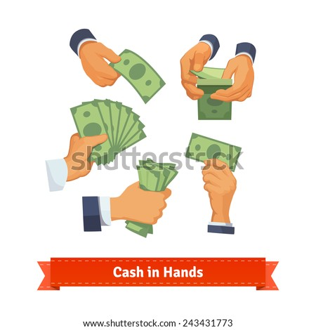 Hand poses counting, giving, taking, squeezing and showing green cash. Flat style illustration.  - stock vector