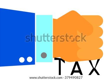 Hand - Press Tax  - stock vector