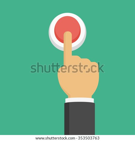 Hand pressing red button, top view, flat style - stock vector