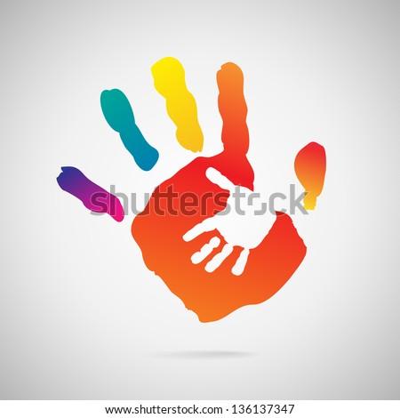 Hand Print icon - stock vector