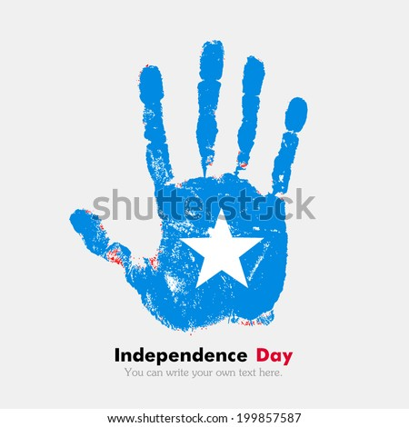 Hand print, which bears the flag. Independence Day. Grungy style. Grungy hand print with the flag. Hand print and five fingers. Used as an icon, card, greeting, printed materials. Flag of Somalia - stock vector