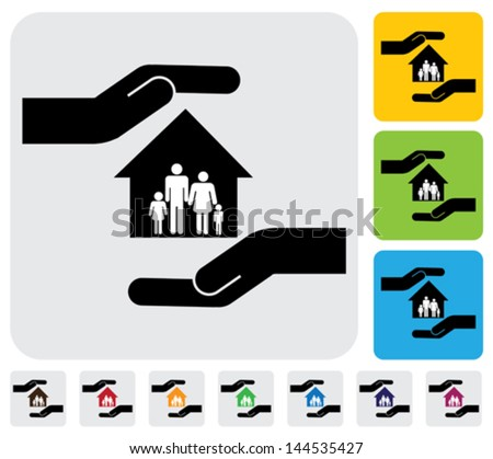 Hand protecting family & house(home)- simple vector graphic. This illustration represents concept of home insurance, family members safety, safeguarding mortgage, property & asset protection - stock vector