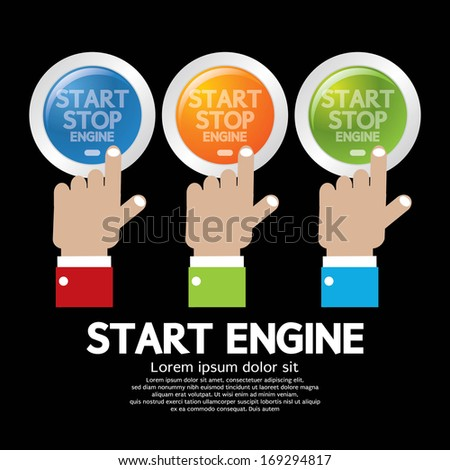 Hand Push Start-Stop Engine Button Set - stock vector