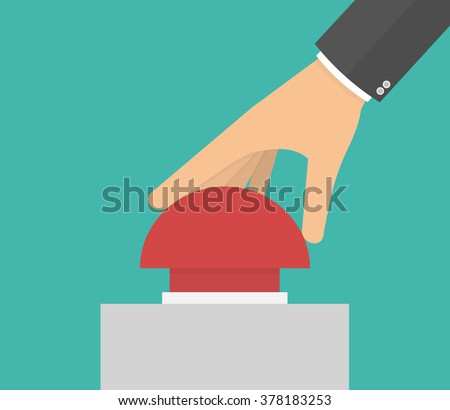 Hand pushing or pressing the big red button. Side view. Flat design  - stock vector