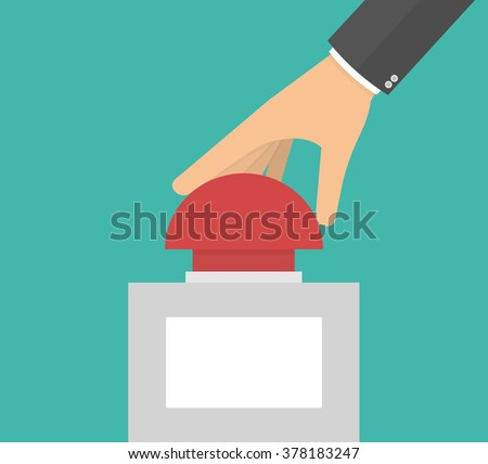 Hand pushing or pressing the big red button with blank label. Side view. Flat style  - stock vector
