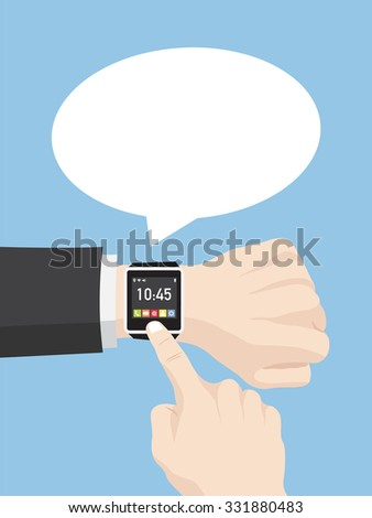 Hand pushing smart watch with Speech Bubbles Design, Vector Illustration EPS 10. - stock vector