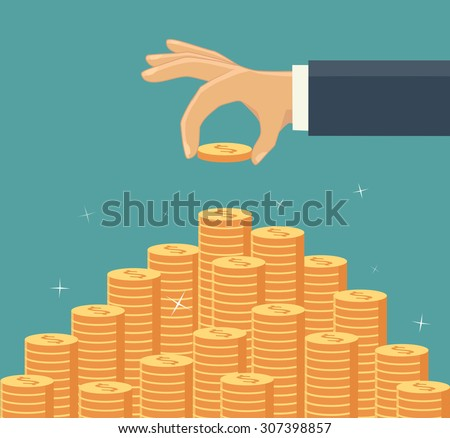 Hand put coin to money staircase. Profit. Making money. For business and finance concept. - stock vector