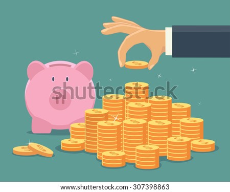 Hand put coin to money staircase. Profit, piggy bank, making money. For business and finance concept. - stock vector