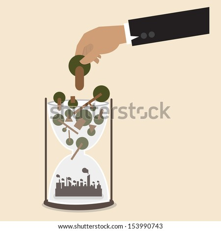 Hand put tree into hourglass that transformed to industry - stock vector